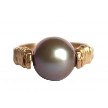 Damen Ring Spannring Vergoldet Zuchtperle Tahiti Grau 8mm