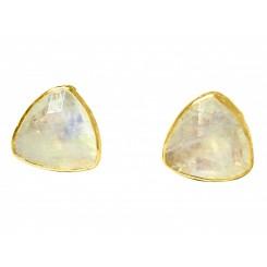 Herren Manschettenknöpfe 925 Silber Vergoldet Mondstein Grau 18 mm