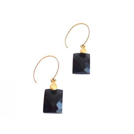 Damen Ohrringe Vergoldet Onyx Schwarz 2 cm