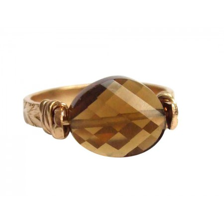 Damen Ring Spannring Vergoldet Rauchquarz Braun