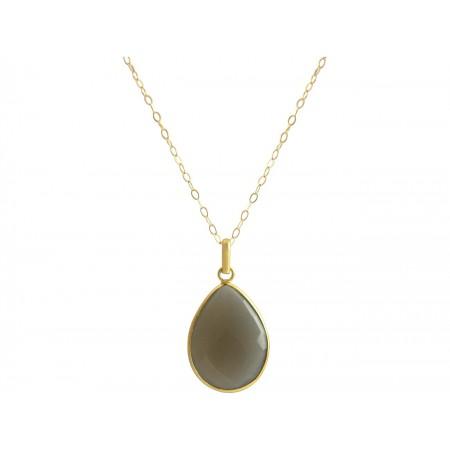 Damen Halskette 925 Silber Vergoldet Mondstein Grau CANDY Tropfen 60 cm