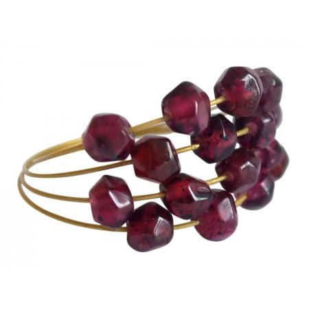 Damen Ring Vergoldet Granat Dunkelrot