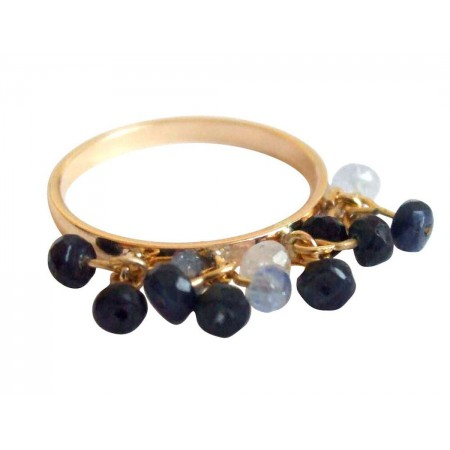 Damen Ring Vergoldet Saphir Blau