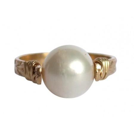 Damen Ring Spannring Vergoldet Zuchtperle Weiß 8mm