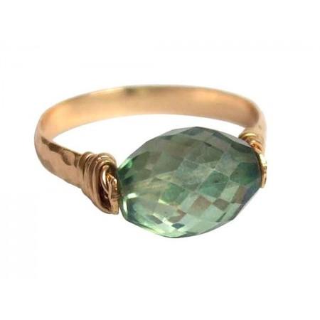 Damen Ring Spannring Vergoldet Amethyst Grün