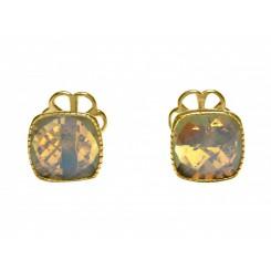 Herren Manschettenknöpfe 925 Silber Vergoldet Mondsteinen Grau 15 mm
