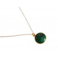 Damen Halskette 925 Silber Vergoldet Smaragd Grün CANDY 45 cm