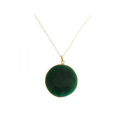 Damen Halskette 925 Silber Vergoldet Smaragd Grün CANDY 60 cm