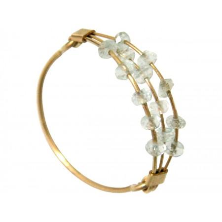 Damen Ring Vergoldet Aquamarin Blau