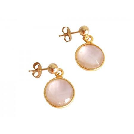 Damen Ohrringe 925 Silber Vergoldet Rosenquarz Rosa CANDY 2 cm