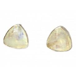 Herren Manschettenknöpfe 925 Silber Mondstein Grau 18 mm