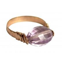 Damen Ring Spannring Vergoldet Rosenquarz Rosa