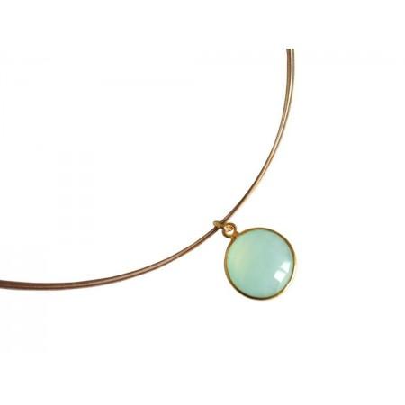 Damen Halskette 925 Silber Vergoldet Chalcedon Grün CANDY 45 cm