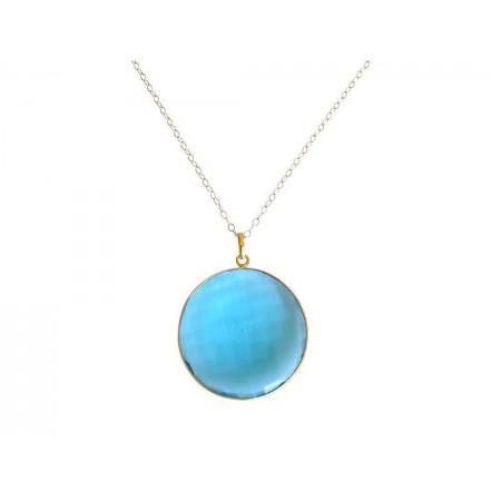 Damen Halskette 925 Silber Vergoldet Quarz Topas Blau CANDY 60 cm