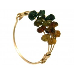 Damen Ring Vergoldet Turmalin Grün Orange