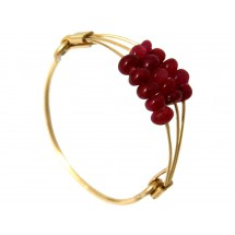 Damen Ring Vergoldet Rubin Rot