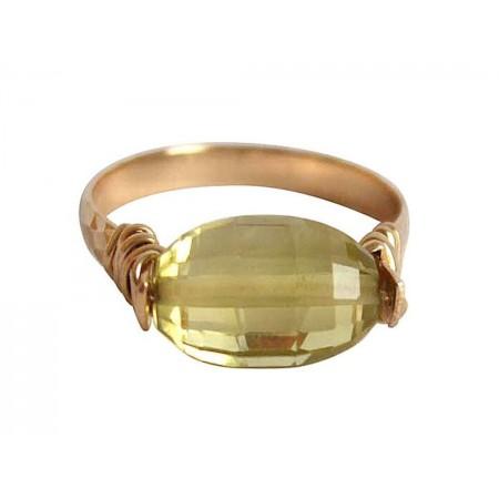 Damen Ring Spannring Vergoldet Lemon Quarz Gelb