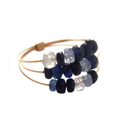Damen Ring Vergoldet Saphir Blau