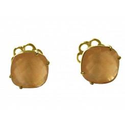 Herren Manschettenknöpfe 925 Silber Vergoldet Rosenquarz Rosa