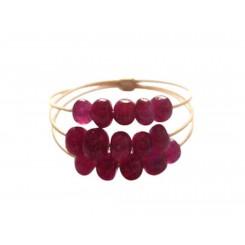 Damen Ring Vergoldet Rubin Rot