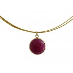 Damen Halskette 925 Silber Vergoldet Rubin Rot CANDY 45 cm