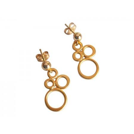 Damen Ohrringe 925 Silber Vergoldet BUBBLES 2 cm