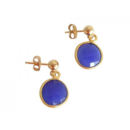 Damen Ohrringe 925 Silber Vergoldet Onyx Blau CANDY 2 cm