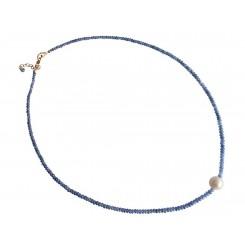 Damen Halskette Saphir Perle Vergoldet Blau Weiß 45 cm