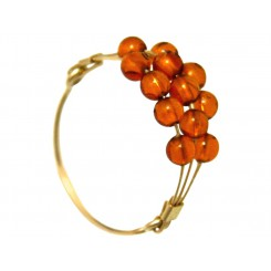 Damen Ring Vergoldet Bernstein Orange