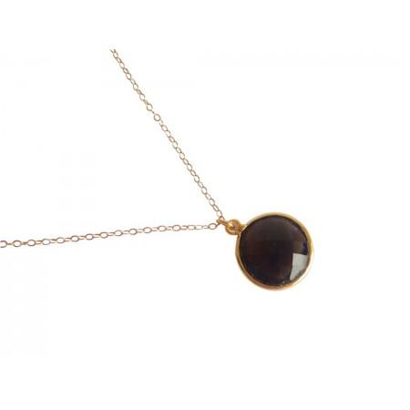Damen Halskette 925 Silber Vergoldet Rauchquarz Braun CANDY 45 cm