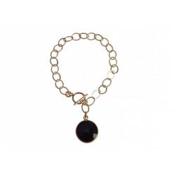 Damen Armband Vergoldet Onyx Schwarz CANDY