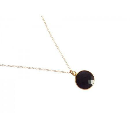 Damen Halskette 925 Silber Vergoldet Onyx Schwarz CANDY 45 cm