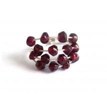 Damen Ring 925 Silber Granat Dunkelrot