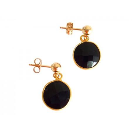 Damen Ohrringe 925 Silber Vergoldet Onyx Schwarz CANDY 2 cm