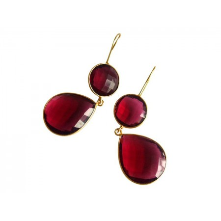 Damen Ohrringe 925 Silber Vergoldet Quarz Rot CANDY Tropfen 6 cm