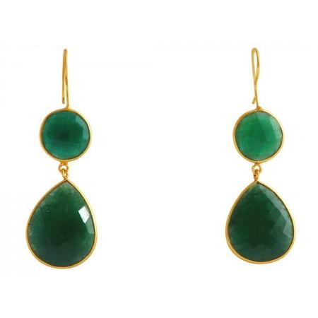 Damen Ohrringe 925 Silber Vergoldet Smaragd Grün CANDY Tropfen 6 cm