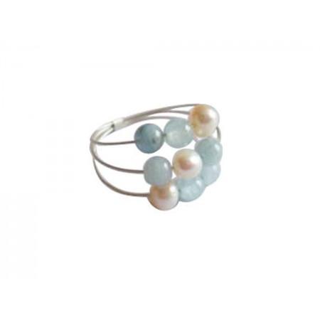 Damen Ring 925 Silber Aquamarin Perlen Blau Weiß
