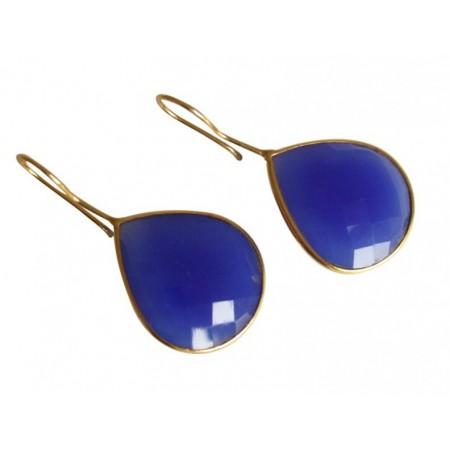 Damen Ohrringe 925 Silber Vergoldet Onyx Blau CANDY Tropfen 3,5 cm