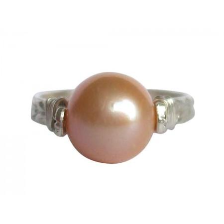 Damen Ring Spannring 925 Silber Zuchtperle Lachs Rose 8mm