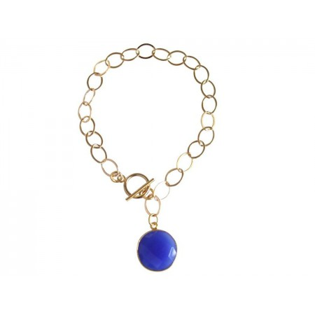 Damen Armband Vergoldet Onyx Blau CANDY