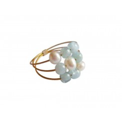 Damen Ring Vergoldet Aquamarin Perlen Blau Weiß