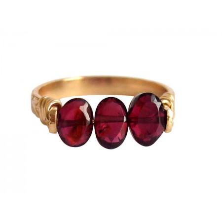 Damen Ring Spannring Vergoldet Granat Dunkelrot