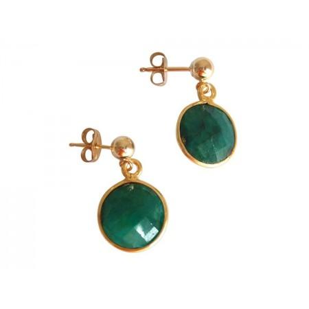 Damen Ohrringe 925 Silber Vergoldet Smaragd Grün CANDY 2 cm