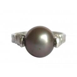 Damen Ring Spannring 925 Silber Zuchtperle Tahiti Grau 8mm