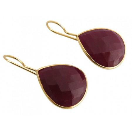 Damen Ohrringe 925 Silber Vergoldet Rubin Rot CANDY Tropfen 3,5 cm