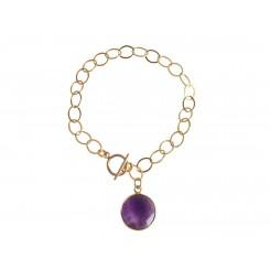 Damen Armband Vergoldet Amethyst Violett CANDY