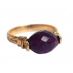 Damen Ring Spannring Vergoldet Amethyst Violett