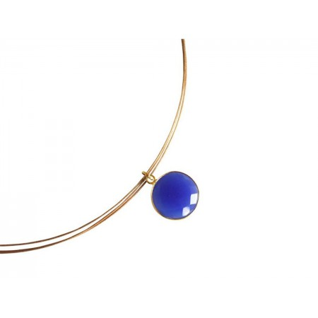 Damen Halskette 925 Silber Vergoldet Onyx Blau CANDY 45 cm