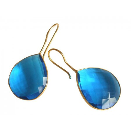 Damen Ohrringe 925 Silber Vergoldet Quarz Topas Blau CANDY Tropfen 3,5 cm