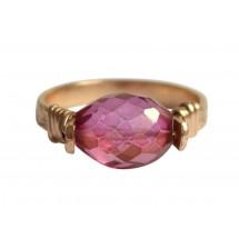 Damen Ring Spannring Vergoldet Turmalin Rosa